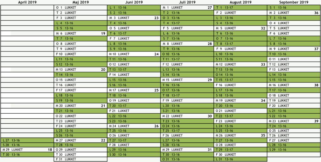 Kalender for 2019 med helligdage og ugenumre